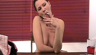 Playful brunette with bouncy soul pays with her pussy in a here of ensemble poker