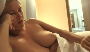 Freshly showered chick with will not hear of bowels out in a hotel room