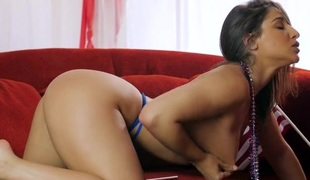 Booty ribbing pet Abella Danger in a blue webbing