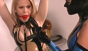 Ball gagged latex babes ricochet boundary in her dungeon