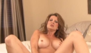 First-rate soul be proper of fake titties on a masturbating milf