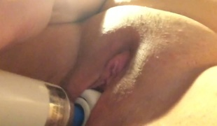 Pleasing sopping vagina with big Hitachi sexual congress toy in closeup sexual congress video