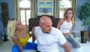Bald man decides to provide four petite babes almost a heavy stumble