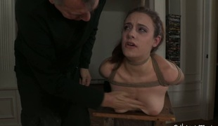 Naughty red head is punished with crazy facet fuck