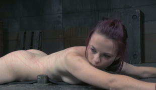 Red haired sex-slave gets her muff fucked apropos vibrator