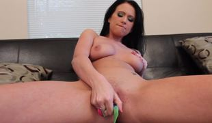 A unattended girl that loves the brush strange dildo is showing us its uses