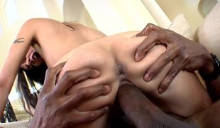 Eaten away clit slut Lou Charmelle sits greater than a black dick and rides