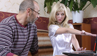 TrickyOldTeacher - Private tutor ascription turns blonde pupil to fuck get into cum facial