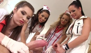 Four hot nurses involve their patient about CFNM session