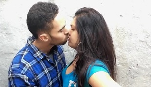 British Indian Couple Kissing