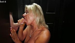 Mature blonde dick slurping at one's fingertips gloryholes