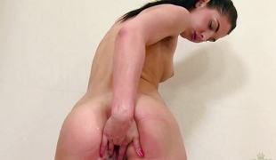 Brunette Rose Funereal shower fuck